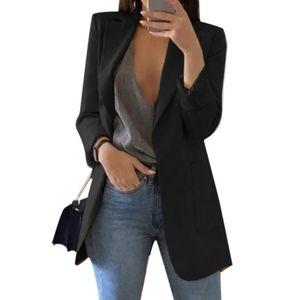 Mode Damen Revers Cardigan All-Match Temperament Blazer Schlanke Overalls Langarm Taschenknopf Blazer,Schwarz S