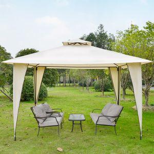 Outsunny Pavillon Partyzelt mit Doppeldach 3,5x3,5x2,7m Festzelt Gartenlaube Stahl Polyester Beige