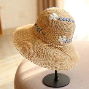 Damen Sommer Strohhut Stickereiblume Strand Hut Sonnenschutz retro Hut -(Stil 2,)