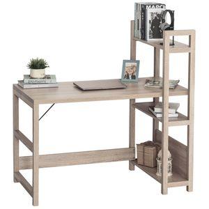 HOMCOM Schreibtisch mit 4 Ebenen Bücherregal, Computertisch, Bürotisch, Spanplatte, Eiche, 120 x 67 x 120,5 cm