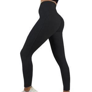 Frauen High Waist Solid Color Yogahosen Casual Sports Slim Fit Leggings Schwarz XL