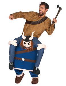 Wikinger Huckepack-Kostüm blau-braun