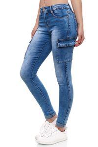 Damen Denim Cargo Jeans Hose Stretch Treggings Skinny Röhrenjeans, Farben:Blau, Größe:40