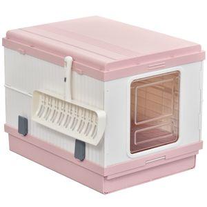 PawHut Katzentoilette mit ausziehbarer Schale, Katzenklo mit Schaufel, Zusammenklappbar und Tragbar, ABS, Rosa, 54 x 43 x 42 cm