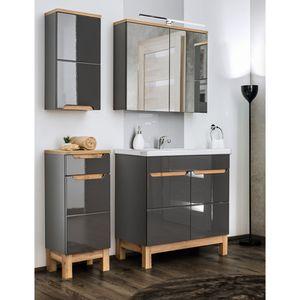 Badezimmermöbel Set mit 80cm Waschtisch & LED-Spiegelschrank SOLNA-56 in Hochglanz grau, B/H/T ca.: 130/200/46 cm