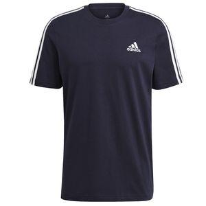 adidas T shirt Herren Rundhals im 3 Streifen Design, Größe:XXXXL, Farbe:Schwarz
