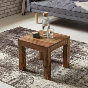 FineBuy Couchtisch Massiv-Holz 45 cm breit Wohnzimmer-Tisch Design Landhaus-Stil Beistelltisch natur Farbe wählbar, Nachbildung/Front:Sheesham