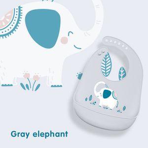 Silikon Baby essen Lätzchen Stereo wasserdicht super weich Speicheltasche Einweg (grau)