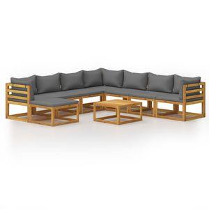 Hochwertigen Garten Sitzgruppe Gartengarnitur - 9-teiliges Garten-Lounge-Set - Gartengarnitur Set mit Auflagen Massivholz Akazie☆3960