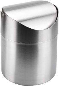 Papierkorb Desktop Mülleimer Edelstahl Tischabfalleimer Tischmülleimer 1.5L Kosmetikeimer Mini Mülleimer Silber Schwingdeckeleimer für Zuhause Büro Waschtisch