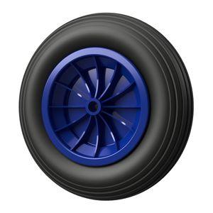 1 x PolyurethanRad Ø 350 mm 3.50-8 Gleitlager, Schubkarrenrad, Reifen, PANNENSICHER, schwarz/blau