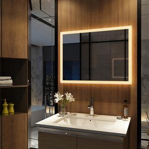 Meykoers Badspiegel Lichtspiegel 80 x 60 cm LED Spiegel Wandspiegel mit Beleuchtung Warmweissen Lichtspiegel IP44 energiesparend