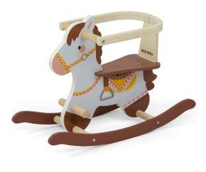 Schaukelpferd LUCY aus Holz in Braun Weiß für Kinder ab 1 Jahr
