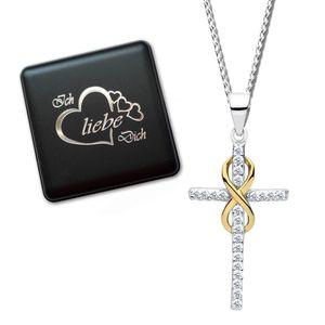 Kreuzkette 50cm echt 925 Sterling Silber Halskette mit Kreuz-Anhänger Kette für Damen Mädchen Bicolor Infinity Unendlichkeit K706+V8
