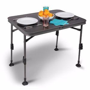Campingtisch Klapptisch Picknick aus Aluminium Falttisch 80x60cm höhenverstellbar Wasserfest schwarz Kampa Element