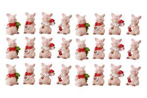 24 Stück Glücksschweinchen Figuren im Display Glücksbringer