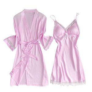 New Satin Silk Pyjamas Nachthemd Frauen Roben Unterwäsche Nachtwäsche Dessous Größe:L,Farbe:Rosa