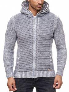 Herren Strickjacke warme Kapuzenjacke Fell-Kapuze Winter-Jacke RS-18002 Grau M
