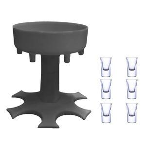 Schnapsglasspender und Halter Weinspender Partywein gießen Artefakt #1 grauer Spender + 6 transparente Tassen