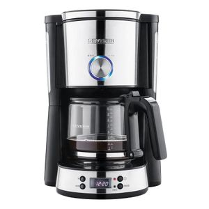Severin KA 4826 TypeSwitch Timer Kaffeeautomat gebürsteter Edelstahl / schwarz, Farbe:Schwarz