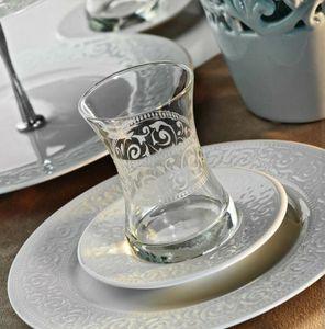 Kütahya Porselen Acelya Teeglas Set Porzellan Unterteller 12 teilig Cay Bardagi
