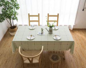 Quaste Tischdecke 90x90 Khaki Kariert Baumwolle und Leinen Tischtuch Couchtisch Tischdecke Quadratisch Abwaschbar Küchentischabdeckung für Speisetisch (90x90,Khaki)