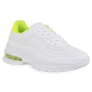 Mytrendshoe Damen Plateau Sneaker Schnürer Prints Profil-Sohle Schuhe 836015, Farbe: Weiß Neon Gelb Snake, Größe: 39
