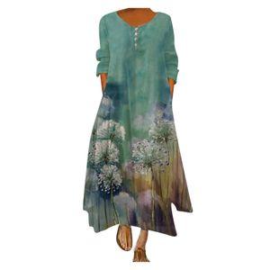 Frauen Plus Size Print Täglich Lässig Langarm Vintage Bohemian O Neck Kleid Größe:XL,Farbe:Grün