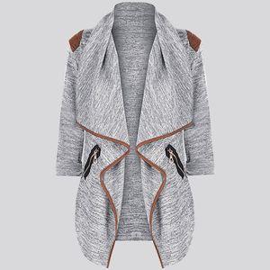 Damen Strick lässig Langarm Tops Cardigan Jacke Outwear Plus Size Größe:L,Farbe:Grau