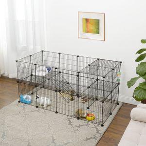 SONGMICS 2 stöckig Kleintierkäfig 143 x 71 x 73 cm Laufgitter verstellbar schwarz Meerschweinchen-Käfig Laufgitter aus Metall LPI02H