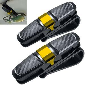 2 Pack Brillenhalter für Auto Sonnenblende, Sonnenbrillen Brillen mit Kartenkarten Clip - Gold