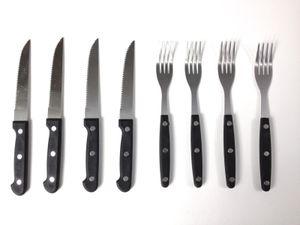 8er Packung Besteck SET Steakgabel + Steakmesser Edelstahl Silber Schwarz