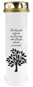 Grabkerze Weiß, Brenndauer: 170 Stunden ( 7 Tage ), Motiv: Baum