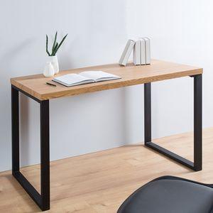 cagü: Design Schreibtisch [VANCOUVER] Eiche & EisenGestell Schwarz 120cm x 60cm