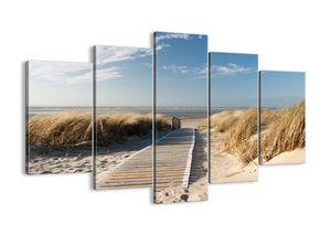 "Leinwandbild - 150x100 cm - ""Hinter der Düne, im Rascheln des Grases""- Wandbilder - Meer Strand Düne - Arttor - EA150x100-2657"