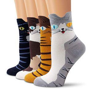 4PCS Studentinnen Lustige Socken Niedlicher Cartoon-Spaß Funky Cat Warme Damensocke