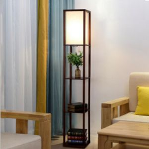 LED Standleuchte Stehlampe Standlicht Bodenlampe Wohnzimmer Leselampe mit Regal Ablage Braun Lichtsäule