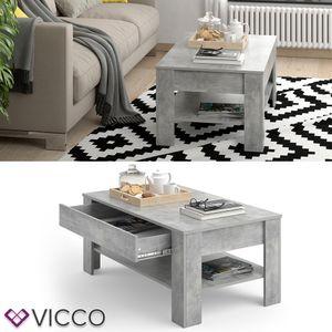 Vicco Couchtisch mit Schublade 110 x 65 cm Beton - Wohnzimmertisch Beistelltisch Kaffeetisch