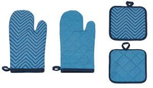Betz Küchen Set 4-teilig bedruckt  2 Handschuhe 2 Topflappen Farbe blau