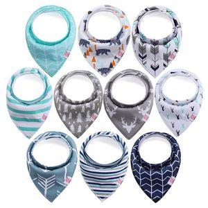 10er Set Baby Dreieckstuch Lätzchen Halstücher Saugfähig Weich Baumwolle mit Druckknöpfen für Jungen und Mädchen