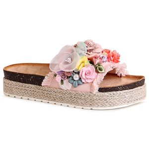 topschuhe24 1820 Damen Plateau Sandalen Pantoletten Blume, Farbe:Rosa, Größe:37 EU