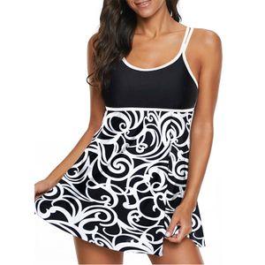 Damen Zweiteiler Badebekleidung Badeanzug + Badeshorts Push Up Padded Strandkleidung,Farbe:Schwarz,Größe:L