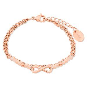 s.Oliver 2022731 Damen Armband Infinity Edelstahl Rose 20 cm