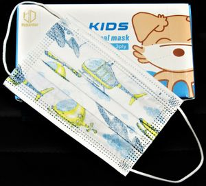 50x Kinder Maske Atemschutzmaske 3-lagig Mund-Nasen-Schutz Einweg EN14683:2019 Typ 1 HUBSCHRAUBER Motiv Disposable medical mask (non-sterile)