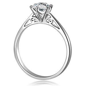 Damenring Zirkonia Stein Verlobungsring Solitärring Bandring 925 Sterling Silber Autiga® silber 52 - Ø 16,64 mm