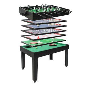 Tischkicker HWC-J15, Tischfußball Billard Hockey 7in1 Multiplayer Spieletisch, MDF 82x107x60cm  schwarz