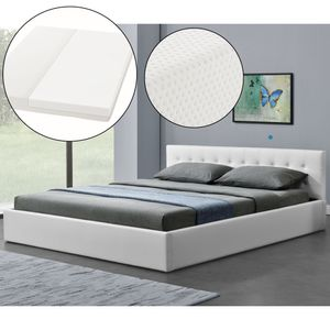 Juskys Polsterbett Marbella 180x200 cm mit Matratze, Bettkasten & Lattenrost – Bett aus Kunstleder und Holz – Doppelbett weiß