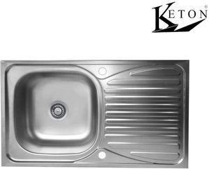 Keton Design Edelstahl Einbauspüle Küchenspüle Küchen Spüle Spülbecken 86cm x 43,5 cm mit Hahnlochstopfen beidseitig gelocht