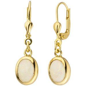 JOBO Ohrhänger 585 Gold Gelbgold 2 Opale Ohrringe Goldohrringe Opalohrringe