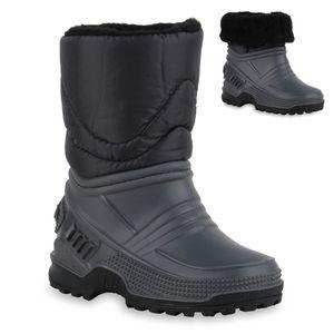 Mytrendshoe Kinder Warm Gefütterte Winter Boots Stiefel Bequeme Schuhe 836071, Farbe: Grau Schwarz, Größe: 30